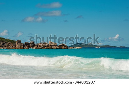 Wave on the beach, Seychelles