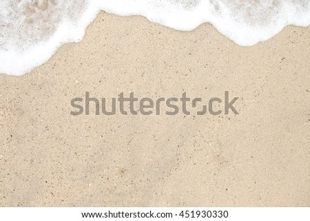 Wave on the sand beach background. It is a concept, conceptual or metaphor wall banner. Front view with copy space. Background for design