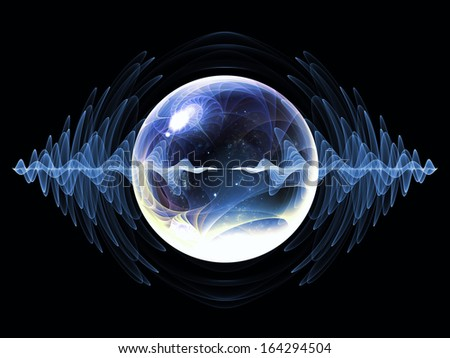 Wave Particle series. Backdrop of fractal spherical patterns and conceptual elements on the subject of science, technology, spirituality and design - stock photo