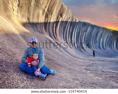 Wave rock, western Australia  - stock photo