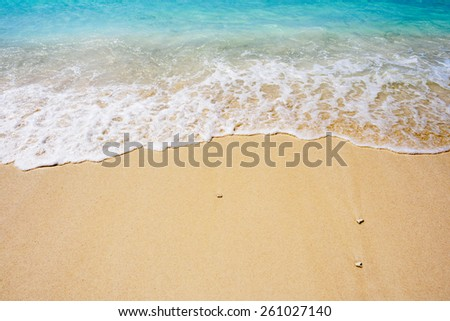 Wave rolling in on tropical  golden sand beach - stock photo
