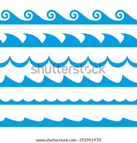 Wave set. Waves seamless pattern. Sea and ocean waves isolated on white background. - stock photo