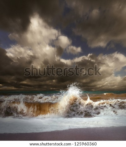 Wave splash at the stormy sea landscape - stock photo