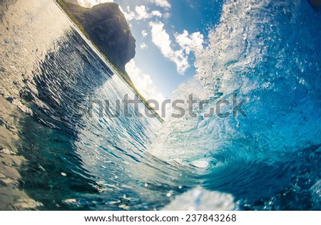 Wave view on Mauritius - stock photo