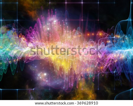 Wave Visualization series. Background composition of  sine waves and lights on the subject of signal and sound processing, modern technology, education and science