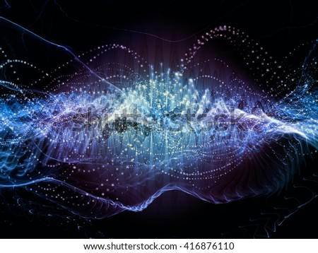 Wave Visualization series. Design composed of sine waves and lights as a metaphor on the subject of signal and sound processing, modern technology, education and science