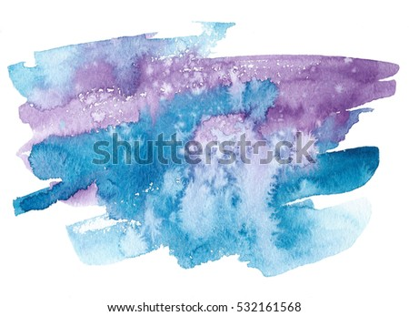 Wave watercolor colorful blue violet white hand drawn paper texture card for text design, web, print. Abstract water color aquarelle brush paint magic background for wallpaper, blank