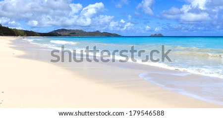 Waves and turquoise waters of a small Tropical island beach. - stock photo