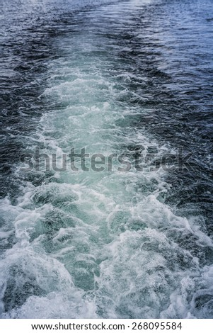 Waves Background Created but A big Boat - Top view - stock photo