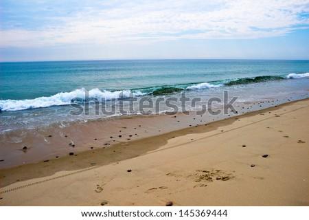 Waves break on Nauset Beach, MA, on Cape Cod. - stock photo