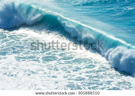 Waves breaking on the shore of Madeira (Portugal) - stock photo