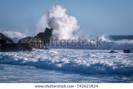 Waves crash on Pfeiffer Beach in Big Sur