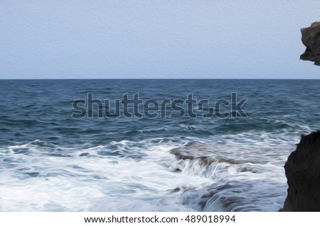 Waves crashing against the rocky coast Cyprus in the background. Photo stylized and filtered to look like an oil painting. Beautiful illustrations