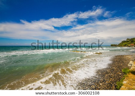 Waves crashing on Argassi beach, Zakynthos island, Greece - stock photo