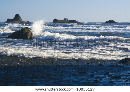 Waves crashing on ruby beach - stock photo