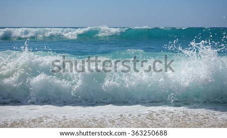 Waves crashing on the beach