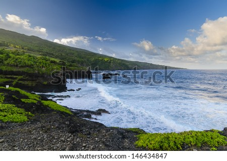 Waves crashing on the beach as a  spectacular ocean view on the Road to Hana, Maui, Hawaii, USA