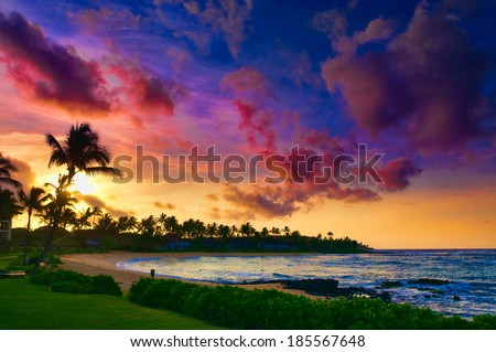 Waves crashing on the beach as a  spectacular ocean view on the Road to Hana, Maui, Hawaii, USA - stock photo