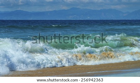 Waves Crashing on the Beach in Southern California
