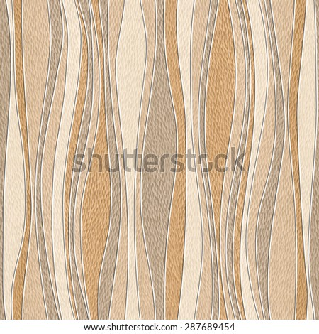 Waves decoration - Interior wall panel pattern - decorative tiles - wrapping papers - seamless background - White Oak wood texture - stock photo