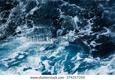 Waves in ocean Splashing Waves - stock photo