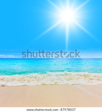 Waves in Paradise Sea - stock photo
