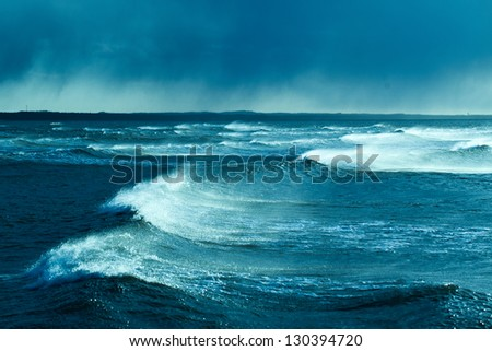 Waves in storm, Baltic sea. - stock photo