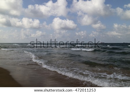 Waves in the Black Sea  and Sand on the Beach