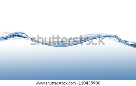 Waves of blue water on white background - stock photo