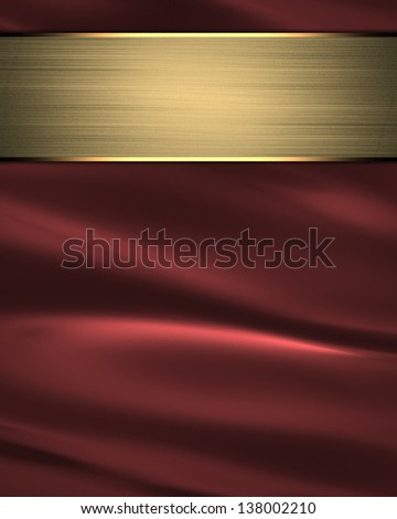 waves of red satin fabric as background with gold nameplate. Design template - stock photo