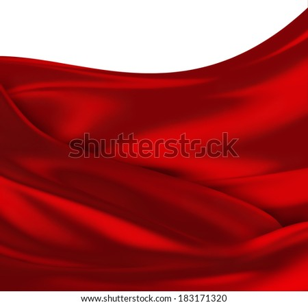 waves of red silk as background - stock photo