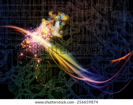 Waves of Technology series. Background design of lights, fractal and technological elements on the subject of science, philosophy, metaphysics and modern technology - stock photo