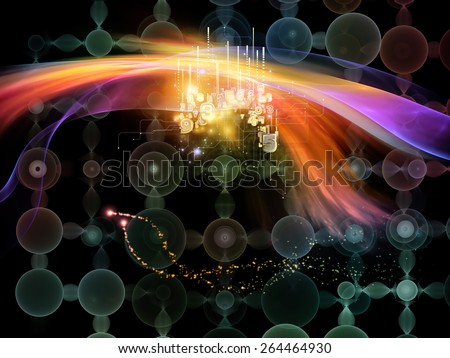 Waves of Technology series. Design composed of lights, fractal and technological elements as a metaphor on the subject of science, philosophy, metaphysics and modern technology - stock photo