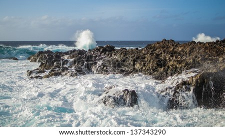 Waves of the sea in Tenerife, Canary Islands, Spain - stock photo