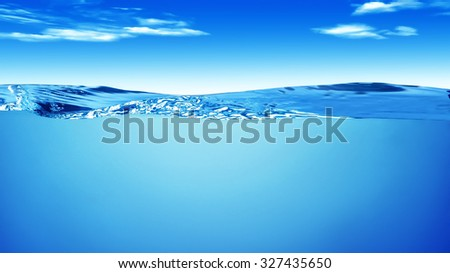 Waves of water against the sky with clouds - stock photo