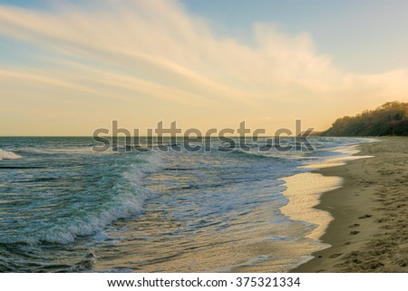 waves on a beach of the Baltic Sea, Usedom Island in Germany - stock photo