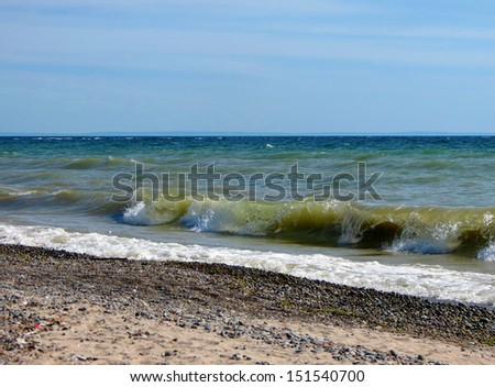 Waves on the beach. Lake Erie, Rock Point provincial park.