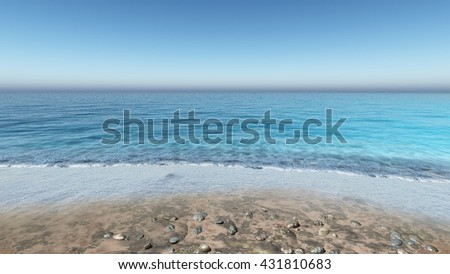 waves on the beach, seashore, 3D rendering