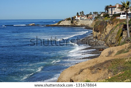 Waves on the California coast line - stock photo
