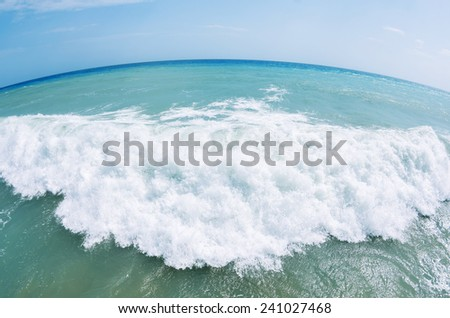 Waves on the Mediterranean Sea, photography fisheye - stock photo