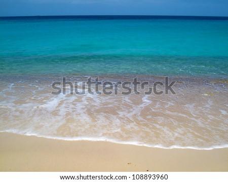 waves on tropical Caribbean beach, slide 4 - stock photo