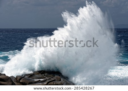 Waves pounding the coastline at Capo Testa Sardinia