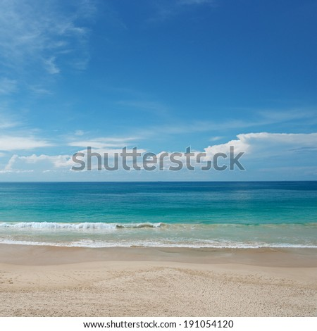 waves sea and blue sky                                     - stock photo