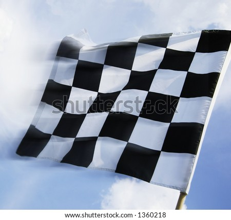 Waving a checkered flag - stock photo