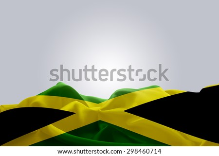 waving abstract fabric Jamaica flag on Gray background - stock photo