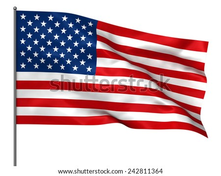 Waving American flag isolated over white background - stock photo