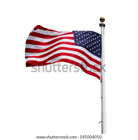 Waving American US flag isolated on white background - stock photo