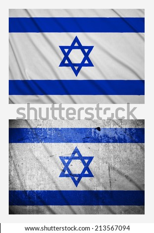 Waving and grunge flags of Israel - stock photo