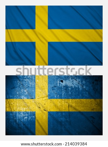 Waving and grunge flags of Sweden - stock photo