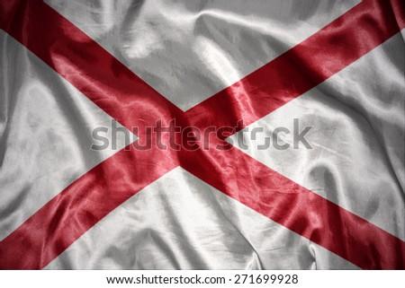 waving and shining alabama state flag - stock photo